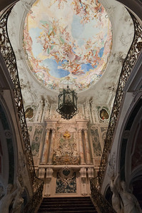 View from the grand staircase of Augustusburg Palace in Bruhl, Germany
