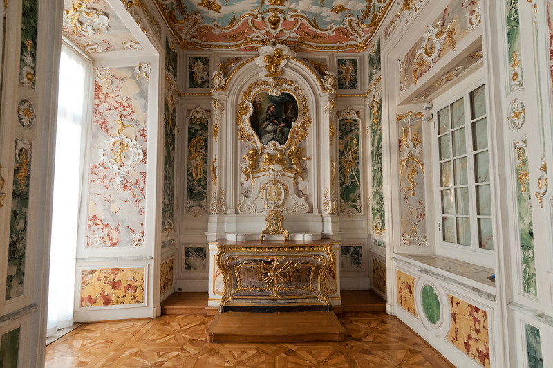 Table at a corner inside Augstusburg Palace in Germany