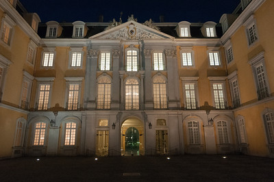 Facing the grand entrance of Augustusburg Palace in Germany