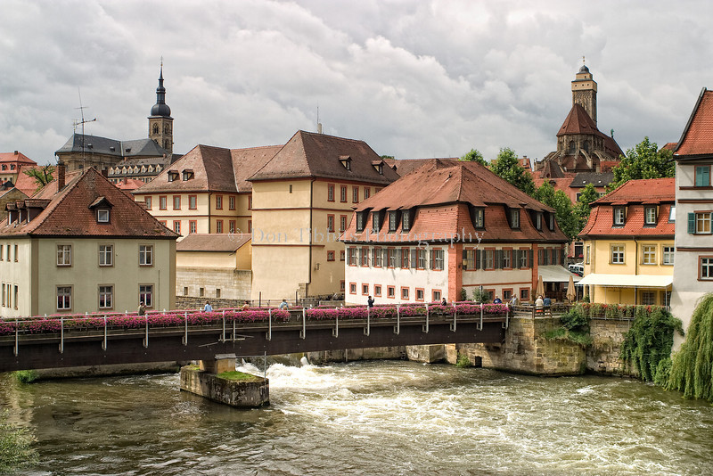 Bamberg town view and Regnitz River.