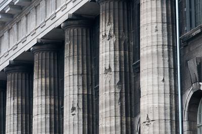 Close-up shot of dilapidated pillars in Berlin, Germany