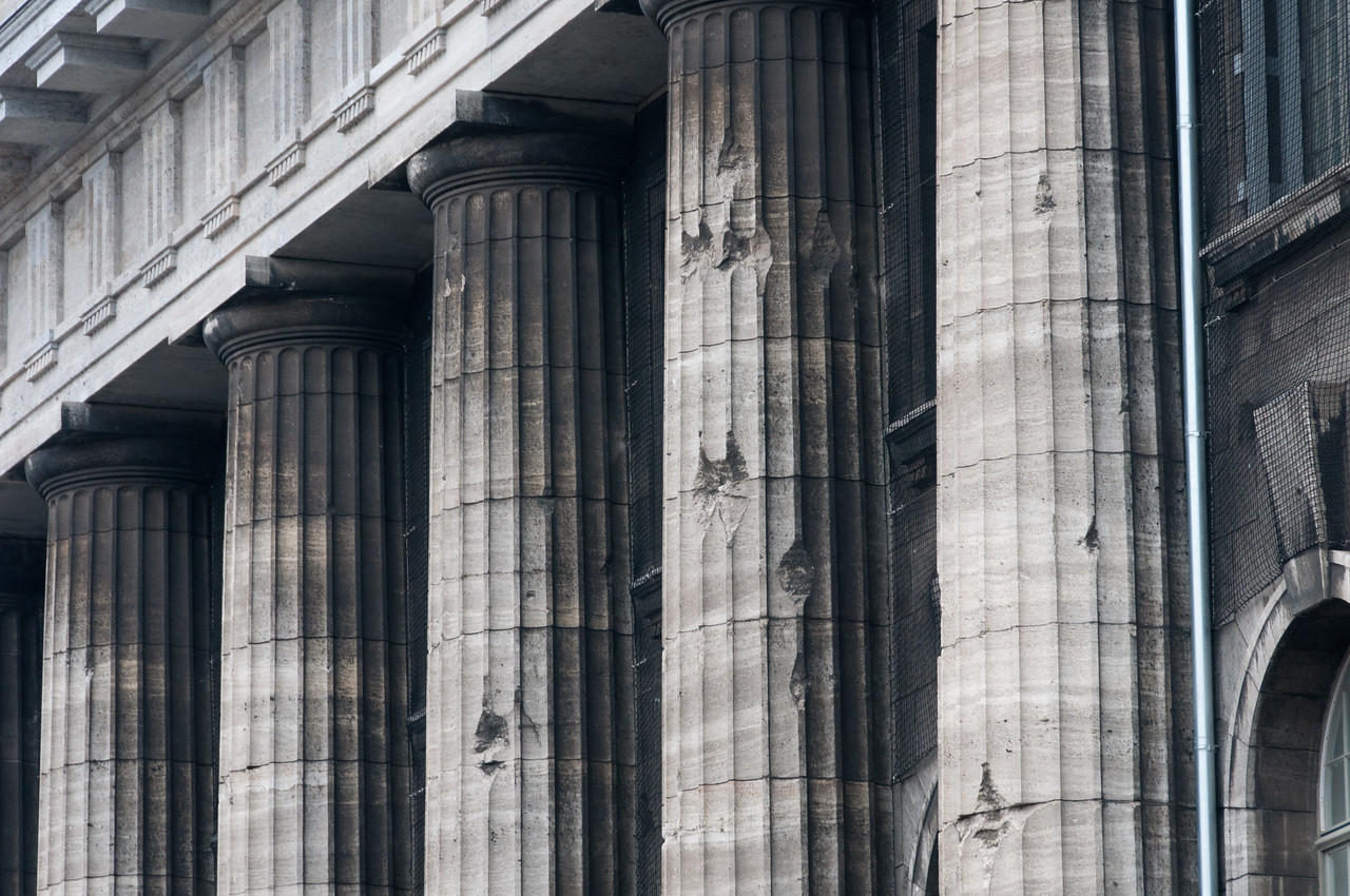 Close-up shot of dilapidated pillars in Berlin, Germany