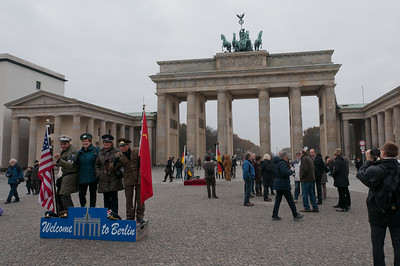 Wide shot of the Brandenburg Gate in Berlin, Germany