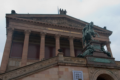 Equestrian statue in front of Alte National Museum in Berlin, Germany