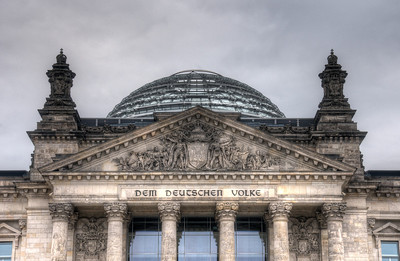 Sign and glass dome at the Reichstag building in Berlin, Germany