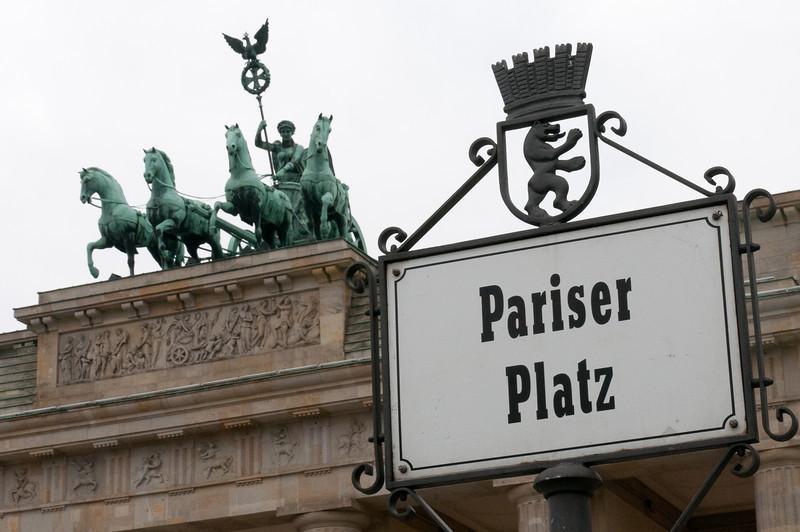 Statue above the Brandenburg Gate in Berlin, Germany
