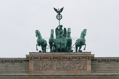 Close-up shot of the statue above Brandenburg Gate in Berlin, Germany
