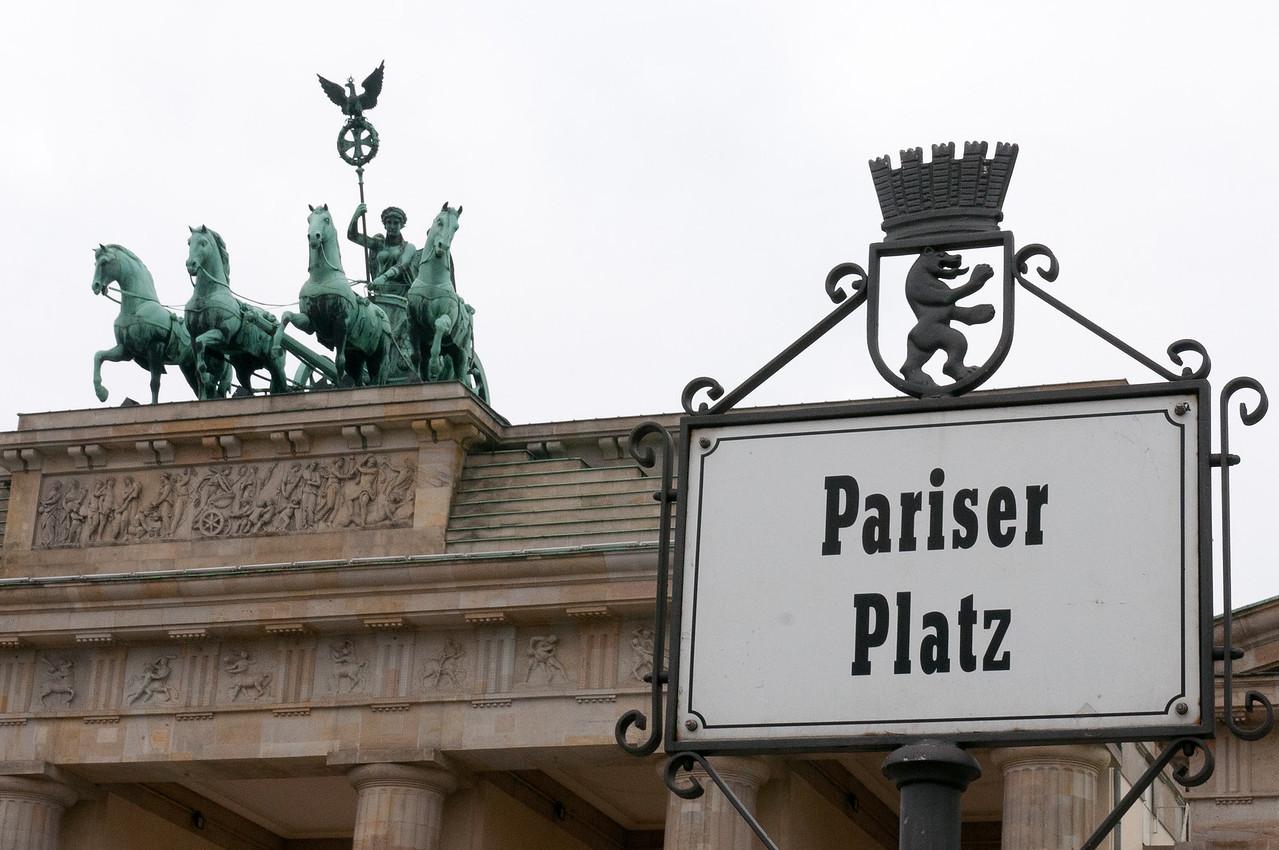 Quadriga and sign above Brandenburg Gate in Berlin, Germany