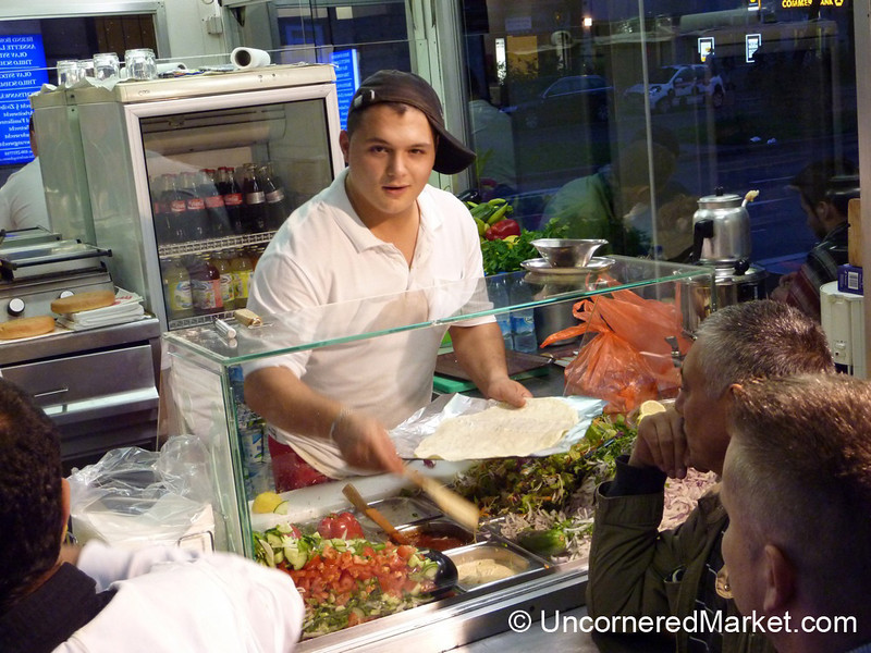 Preparing Delicious Veggie and Chicken Doners at Mustafas - Berlin, Germany