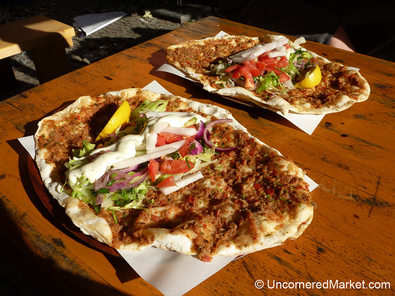Lahmacun (aka, Turkish Pizza) in the Kreuzberg Area of Berlin