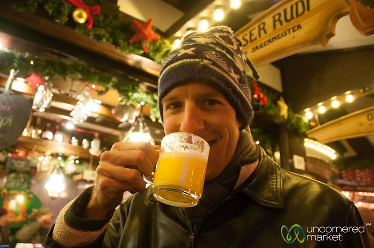 Dan Enjoys Eierpunsch at Potsdam Christmas Market, Berlin