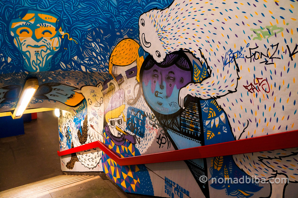 Street art in Schloss Strasse U-Bahn station
