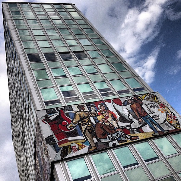 Haus des Lehrers (House of the Teacher) a fine bit of Soviet architecture. Check out the mural! This is #Berlin Mitte