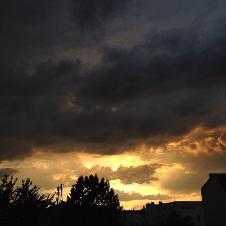 Crazy Berlin weather pattern turns summer storm sunset #skyporn