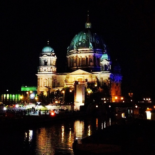 Berliner Dom in night light for Berlin's 775th birthday bash