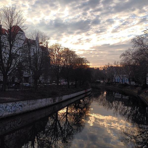 Sunset on the Landwehr Canal, Kottbusser Brücke. #Berlin on the edge of just spring. #Kreuzberg via Instagram http://ift.tt/OzeZPO