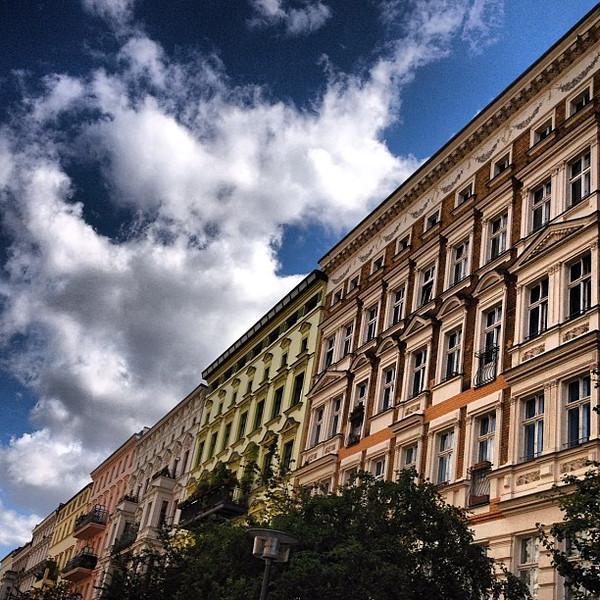 Sunshine Sunday near Mauerpark, Berlin buildings like frosted cake