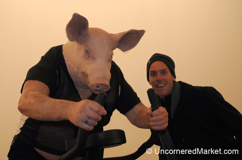 Up Close with an anthropomorphic Pig Working Out - Berlin, Germany