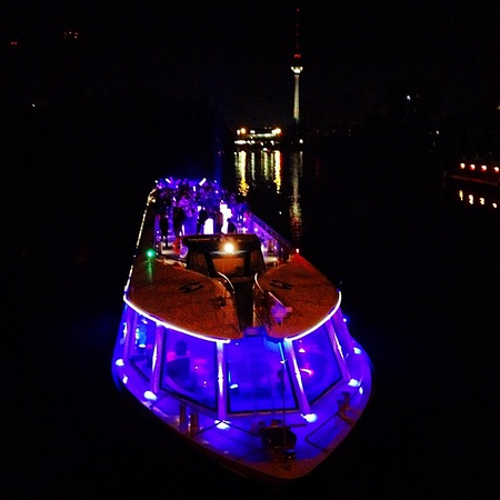 Berlin by night, psychedelic canal party boat