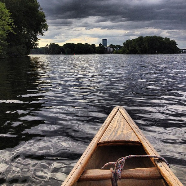Berlin, by canoe. Today we took time paddling the canals in and around Treptow and listened to a fabulous historian tell tales dating back centuries. #cool