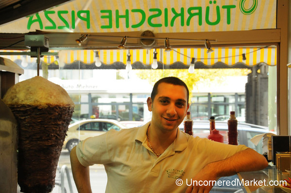 Friendly Doner Master at Tekbir Döner in Kreuzberg, Germany