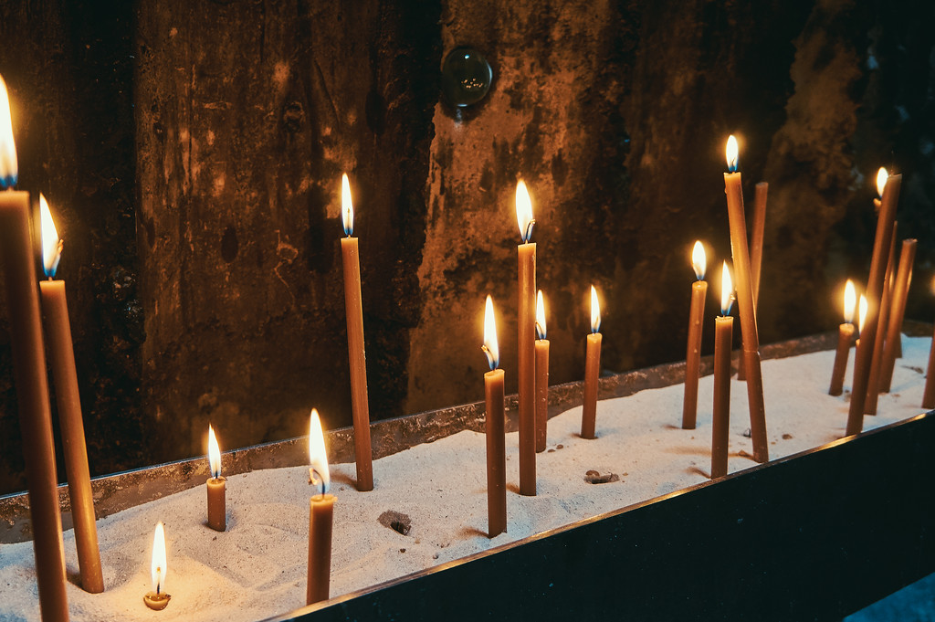 Candles at the Bruder-Klaus-Feldkapelle in Germany.