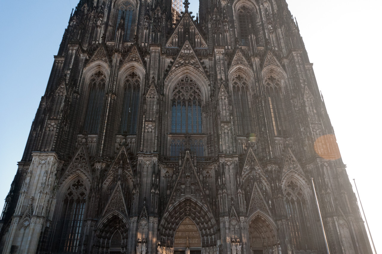 Architectural details of Cologne Cathedral in Cologne, Germany