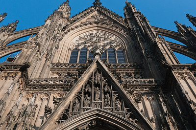 Looking up the main portal of Cologne Cathedral in Cologne, Germany