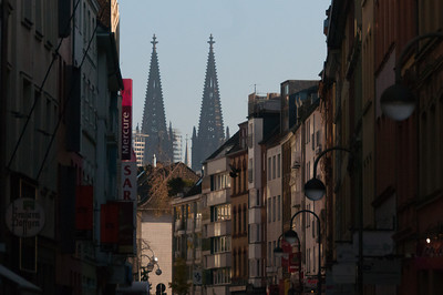 Towers of Cologne Cathedral rising above city skyline - Cologne, Germany