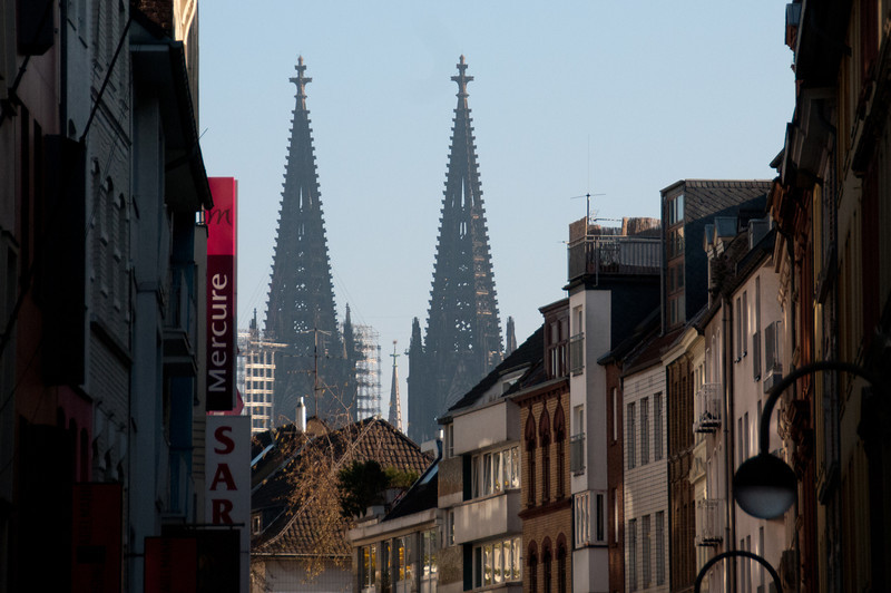 Closer shot of Cologne Cathedral towers - Cologne, Germany