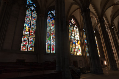 Stained glass windows inside Cologne Cathedral - Germany