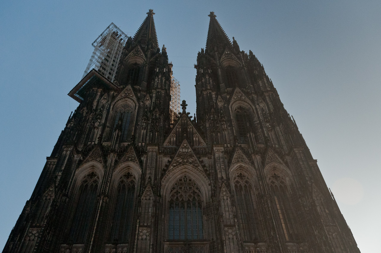 Wide shot of the Cologne Cathedral facade in Germany
