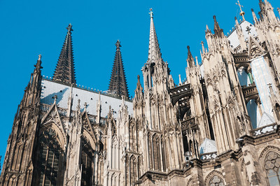 The towers above the Cologne Cathedral in Cologne, Germany