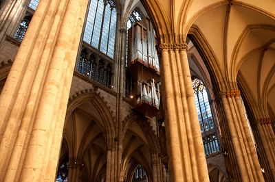 Details of the pillars inside Cologne Cathedral in Cologne, Germany