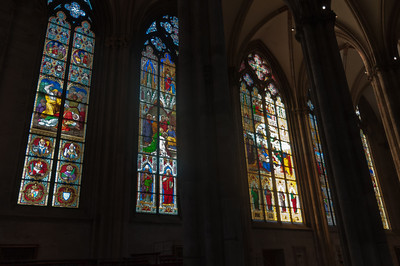 Details of the stained glass windows of Cologne Cathedral - Germany