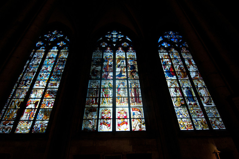 View of the stained glass windows from the inside - Cologne Cathedral in Cologne, Germany