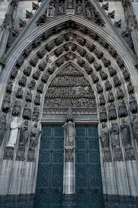 Architectural details on main portal of Cologne Cathedral - Germany