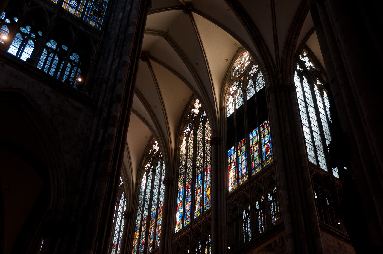 Tall windows inside the Cologne Cathedral in Germany