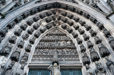 Architectural details of Cologne Cathedral in Germany