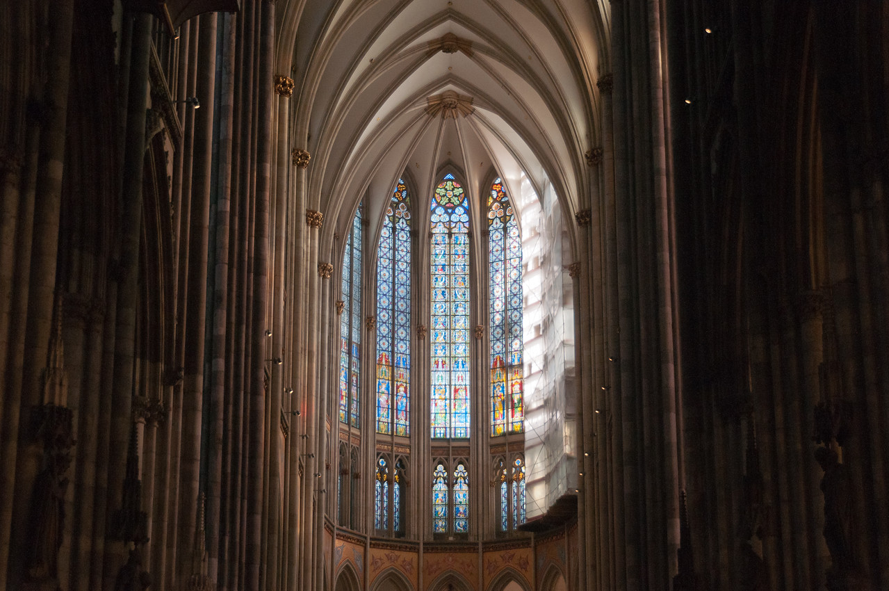 Stained glass windows behind the altar in Cologne Cathedral - Cologne, Germany