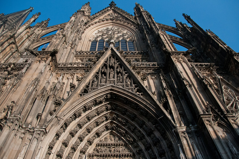 Architectural details of main entrance door of Cologne Cathedral - Germany