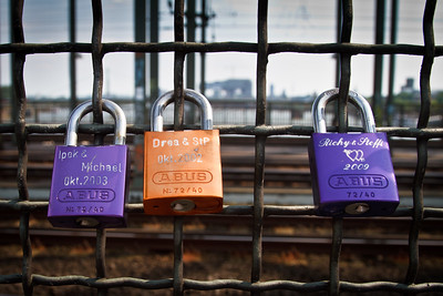 The famous locks of love at the bridge near the train station of Cologne.