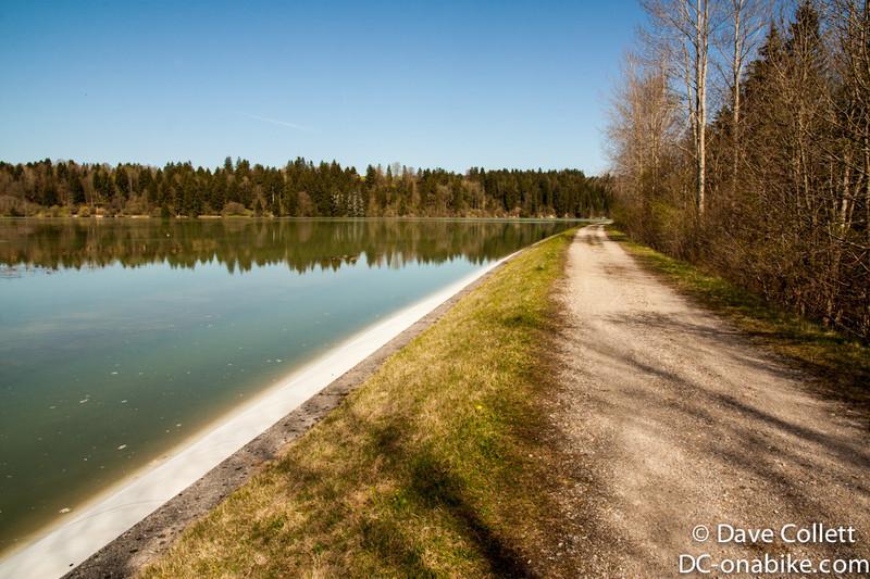 Riding beside a reservoir