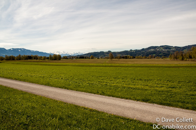 Cycle paths in Austria looking back towards Switzerland