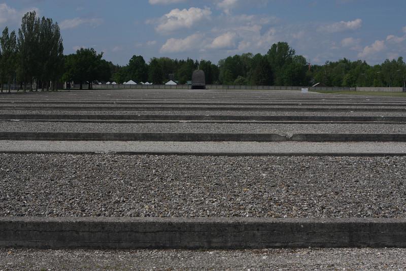 Beds of stone mark locations of former prisoner barracks