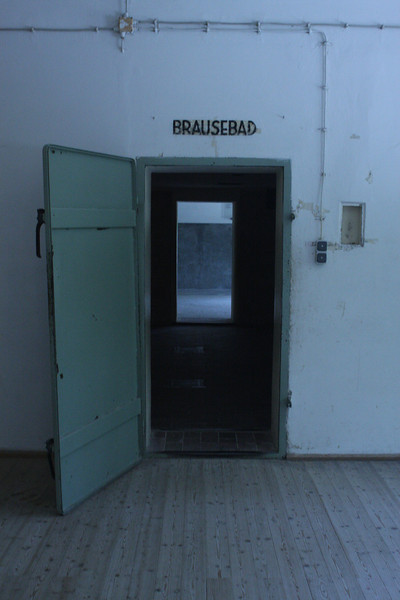 """Shower.""  Gas chamber at Dachau was built but never used"
