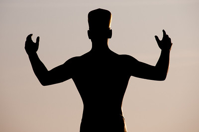 Silhouette of a statue in Dresden, Germany
