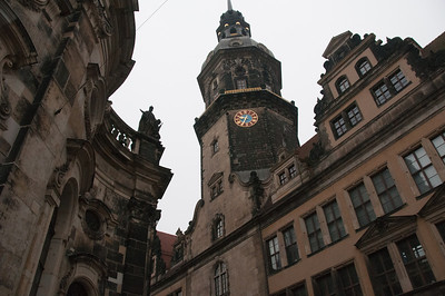 Looking up the Clock Tower in Dresden, Germany