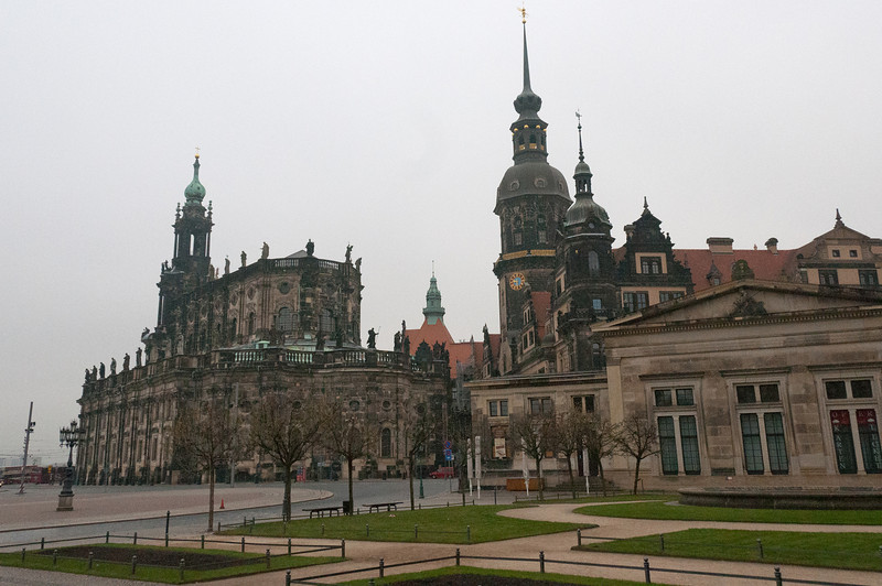 The historic square of Theaterplatz in Dresden, Germany