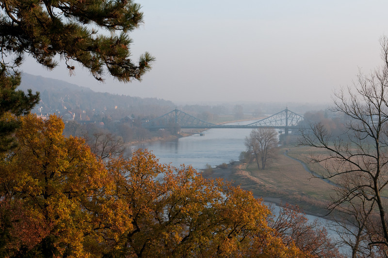 View of the Blue Wonder bridge in Dresden, Germany